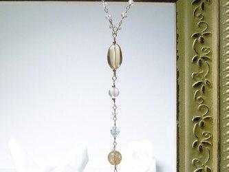 シャンパンクォーツのロザリオ風ネックレスの画像