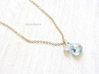 宝石質 きらきらブルートパーズのネックレス 14KGFの画像