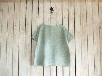 どっちもTシャツ/花柄ボーダー(ミントグリーン)の画像