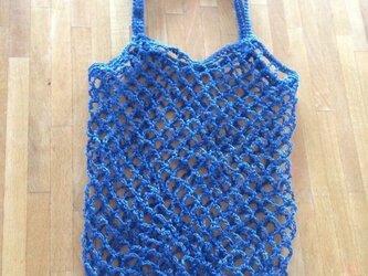 編みバッグ 海ブルーの画像