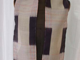 紗 めずらしい格子柄の単ストール 絹の画像