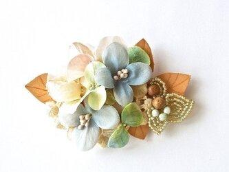 布花と革のコサージュ(no-360)の画像