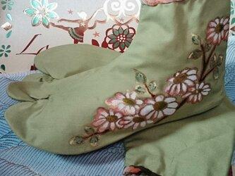 手描き花柄足袋の画像