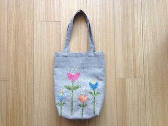 リネンバッグ ビビットな花畑の画像