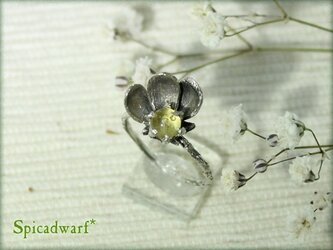Fused glass flower ring size 6の画像