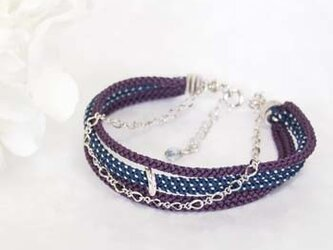 ●kono (purple×navy blue)絹組紐5連ブレスの画像