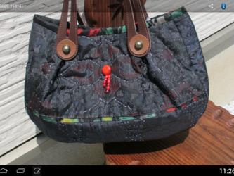 襠付き大島紬のバッグ  一点品の画像