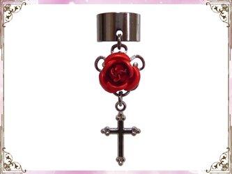 ゴシック・ゴスロリ・パンク系薔薇&十字架のイヤーカフス黒赤の画像