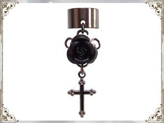 ゴシック・ゴスロリ・パンク系薔薇&十字架のイヤーカフス黒黒の画像