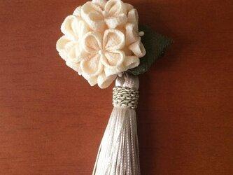 ほっこり紫陽花(かんざし、髪飾り&ブローチ)タッセル付の画像