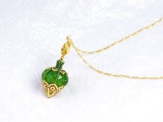 グリーンの香水瓶ネックレス・1503の画像