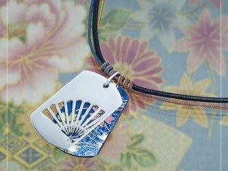 [銀×和紙]透かし和柄タグペンダント『扇』の画像