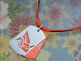 [銀×和布]透かし和柄タグペンダント『折鶴』の画像