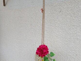 窓辺に癒しの鳥かご  ピンクの花の画像