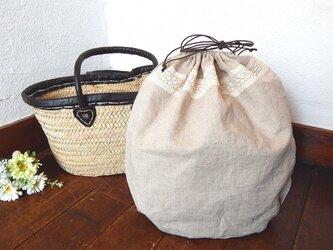 バッグインバッグ巾着 ワンウォッシュリネン レースの画像