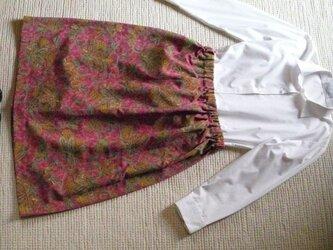 セール!京都で染められた更紗染めの着物スカートの画像