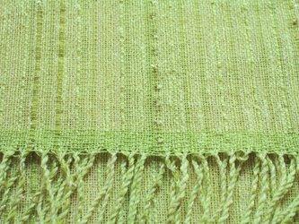 手織りストール 絹、麻、綿麻糸の若草色の画像
