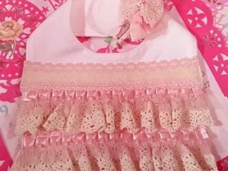 お出掛けスタイ&スリーピンセット 女の子用 ピンクの画像