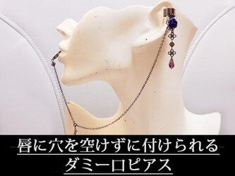 ゴシック・パンク系薔薇&十字架のイヤーカフス&偽口ピアス紫の画像