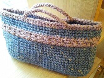 【手染め】麻ひもバッグインバッグ ブルーX紫の画像