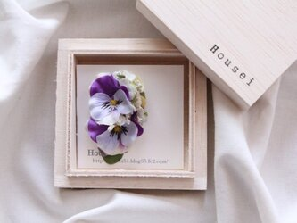 紫のビオラ 片耳ピアス(フェイク)の画像