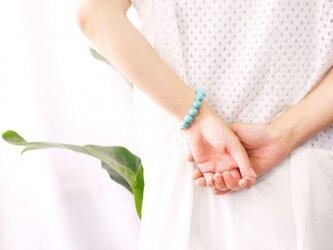 真珠とマグネサイトターコイズのブレスレット ~Ischiaの画像