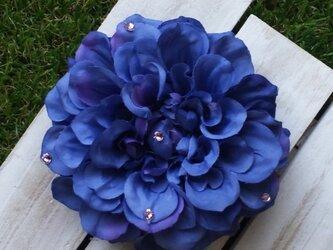 青紫ダリアのヘアゴム (アートフラワー)の画像