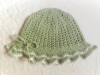 縞模様の大きめフリルのお帽子~46cm ローズマリーリーフの画像
