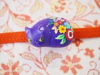 紫の猫帯留め(和柄)soldの画像