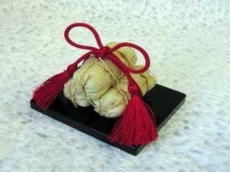 お正月飾り ミニ福俵 金襴の画像