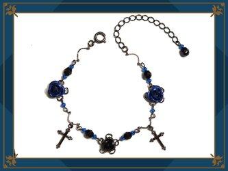 ゴシック・ゴスロリ・パンク系薔薇&十字架のブレスレット/青の画像