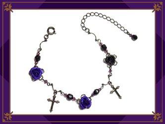 ゴシック・ゴスロリ・パンク系薔薇&十字架のブレスレット/紫の画像