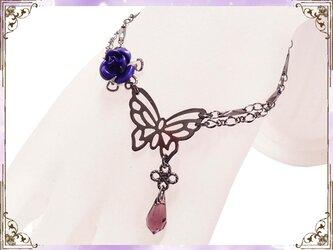 ゴシック・ゴスロリ・パンク系蝶&薔薇のブレスレット/紫の画像
