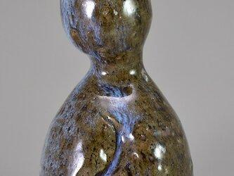 花器[ひょうたん型一輪挿し] [斑碧(まだらあお)]の画像