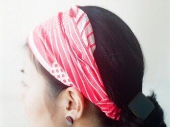 てぬぐいヘアバンド 蛍光ピンクの画像