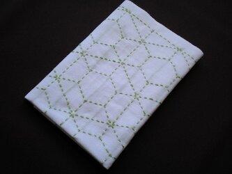 刺し子布巾■黄緑霰亀甲の画像