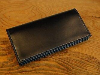 コードバン長財布<小銭あり> OILブラック×ブラックの画像