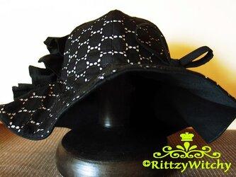 【受注生産】大人用3枚仕立てオリジナルフリルハット(黒×グレーストライプ織)の画像