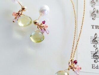 再販開始*宝石質レモンクオーツ&天然石ネックレス&ピアスセット*の画像
