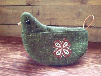 トリの鍋つかみ(緑系a)の画像