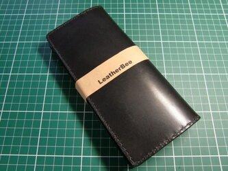 シンプルな本革サドルレザーの長財布(黒)の画像