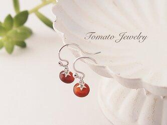 完熟トマトのフックピアス★カーネリアンSV925の画像