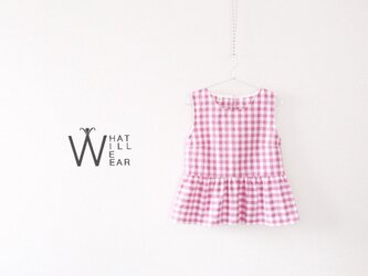 CHECK FLARE TOP (PINK)の画像
