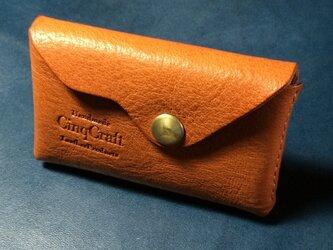 栃木オイルレザー、一枚革のカードケース。の画像