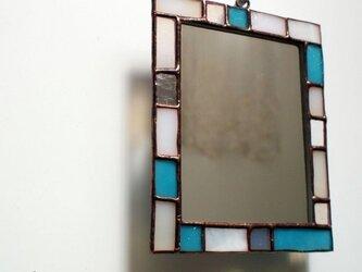 ステンドグラスミラー(ターコイズ,small)の画像