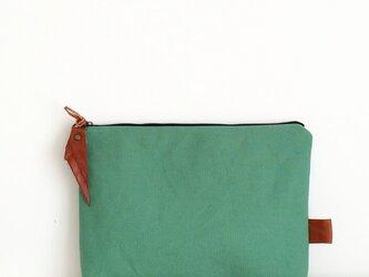 帆布×本革 クラッチバッグ treefern×navyの画像