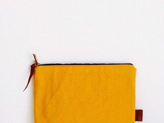 帆布×本革 クラッチバッグ mustard×navyの画像