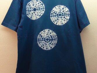 藍染め・唐松絞りTシャツの画像