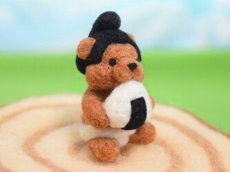 握りたて塩おにぎりをモグモグしているお相撲コグマの画像