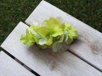 グリーンアジサイのバレッタ (造花)の画像